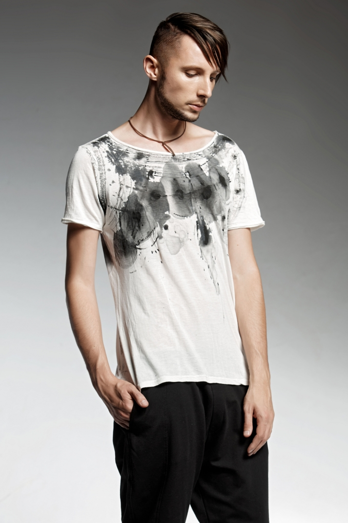 Hand drawn white T-shirt with a deep neck-line.